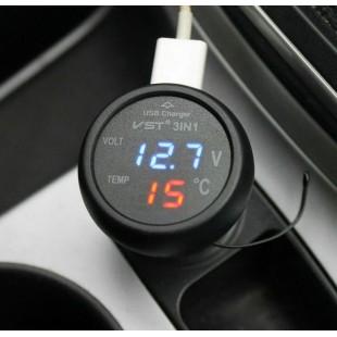 Цифровой вольтметр-термометр зарядное устройство USB в прикуриватель.