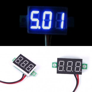 Мини вольтметр 0-30 В с тремя цифровыми  светодиодами синего цвета