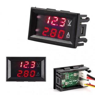 50 амперный цифровой амперметр-вольтметр с красными индикаторами DC0-100V