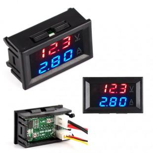 50 ампер DC0-100V цифровой амперметр-вольтметр красно-синие индикаторы