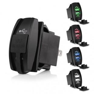 Встраиваемая двойная  USB зарядка с подсветкой.12-24 вольта.