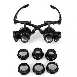 10X 15X 20X 25X Увеличительные очки с сменными насадками и подсветкой