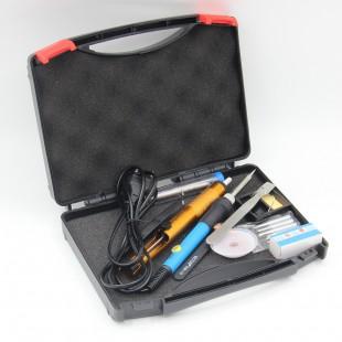 Набор для пайки: регулируемый  паяльник, оловоотсос, подставка, пинцет, припой  60 Вт 220 В