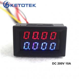 Цифровой вольтметр амперметр постоянного тока 200 В 10A  красные, синие светодиодный дисплей