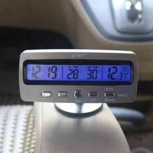 3 в 1 Термометр Часы Вольтметр для авто, Температурный датчик