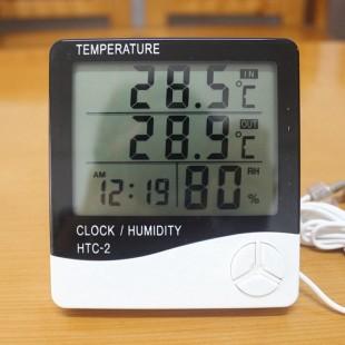 HTC-2 Метеостанция Цифровой измеритель Температуры  Влажности Гигрометр Часы с выносным датчиком