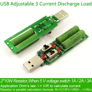 USB резистор нагрузки с переключателем  5V1A/2A/3A емкость батареи, напряжение разряда, сопротивление