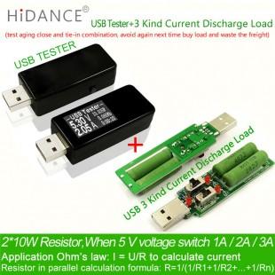 Тестер USB - Цифровой вольтметр, амперметр, детектор зарядных устройств + USB нагрузка