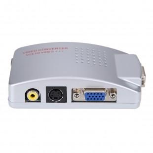 Универсальный конвертер сигнала с ПК на ТВ PC/VGA - TV Адаптер VGA в аналоговое видео (VGA в колокольчики)