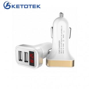 Зарядное устройство в прикуриватель с вольтметром  2 USB