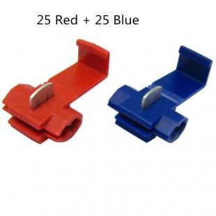 50 шт.  Зажимы для быстрого соединения проводов (25 Красный 25 Синий)