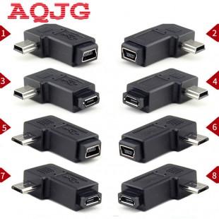 Угловые 90 градусов переходники Mini USB 5pin  Micro USB