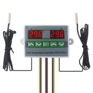 Двухканальный Цифровой регулятор температуры (-50 °C ~ +110 °C) ZFX-ST3012