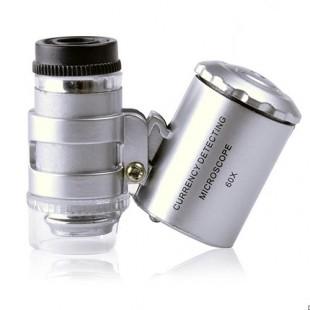 60 кратное увеличение  Карманный мини микроскопа и  Лупа для  Ювелиров с УФ подсветкой