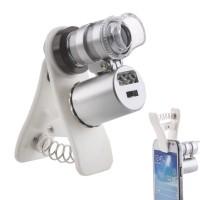 60X Карманный микроскоп, лупа, светодиодная УФ с зажимом