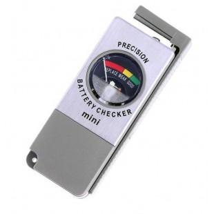 "МиниТестер для батареек и аккумуляторов размера AA, AAA, C, D с напряжением 1.2-1.5В и 9В типа ""Крона""."
